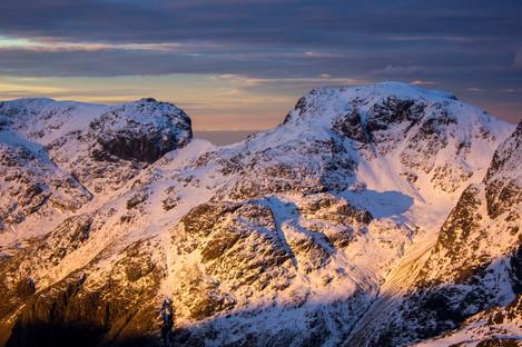 The Scafells - winter dawn