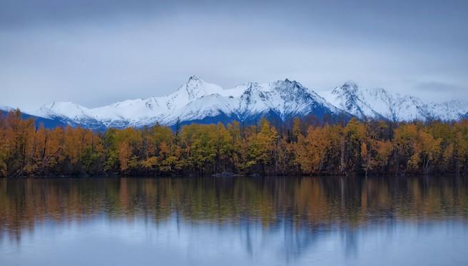 Mostly birch trees across the lake, Bradley Lake, Wasilla, Alaska, Ian Meades, website